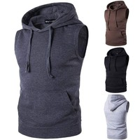 Mens Sleeveless Hoodie Sweatshirt Waistcoat Casual Hooded Coat Jacket Pullover
