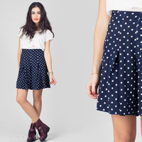 Vintage 1990s Polka Dot Shorts / High Waist Navy White Culottes / Cute Novelty Small S Short Pants