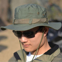 New 5Color Fashion Cap Men Bucket Hat Boonie Hunting Fishing Outdoor Wide Caps Brim Baseball Cap  SM6