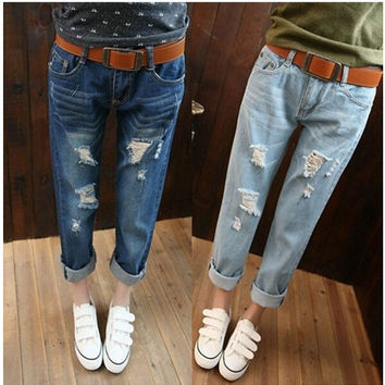 Loose plus size hole jeans female trousers ripped jeans woman denim boyfriend jeans for women QY3929QAF = 1930014660