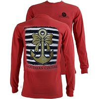 SALE Southern Couture Gold Glitter Anchor Bow Comfort Colors Long Sleeves T-Shirt