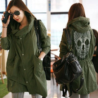 S-XL Women Skull Retro Military Parka Button Oversized Trench Hooded Jacket Coat = 1929647620