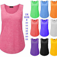 New Ladies Loose Gym Tank Slub Graphic Burn Out Muscle Vest Tops Plus Size 8-26