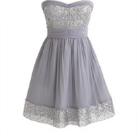 Sequin Trim Dress - Silver