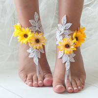 EXPRESS SHIPPING White sunflower lace barefoot sandals wedding barefoot, footles sandles Beach wedding barefoot sandals,