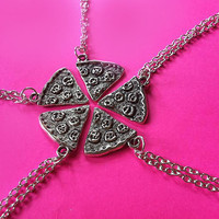 5 Silver Pizza BFF Charm Necklaces / 5 Necklace Set