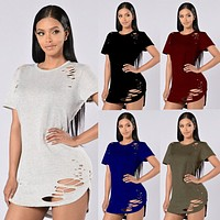 Fashion  Solid Color Irregular Hollow Ripped Short Sleeve T-shirt Mini Dress