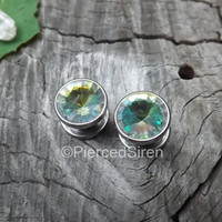 00g Gem plug earrings stainless steel plugs pair tunnels ear gauges multicolored chrome silver plugs comfy screw fit stretched earlobe rings