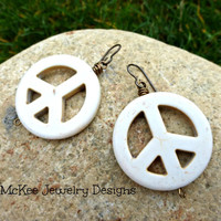 White Howlite stone peace sign earrings. Large, lightweight.