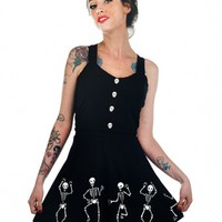 "Women's ""Dancing Skeleton"" Dorothy Dress by Too Fast (Black)"
