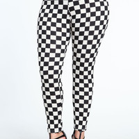 PLUS SIZE BUTTONED CHECKERED LEGGINGS