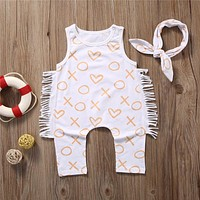 New Style Fashion Newborn Kids Baby Girl Clothes Sleeveless Bodysuit Headband Cotton Jumpsuit Baby Clothing Outfits