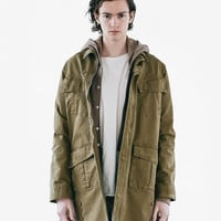 Washed Elongated Military Strap Jacket in Faded Olive