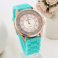 Women's Rhinestone Analog Watch with Silicone Strap Band Mint Green