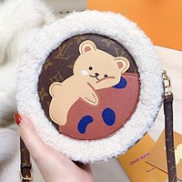 LV Louis Vuitton New fashion monogram bear leather artificial plush round shoulder bag crossbody bag