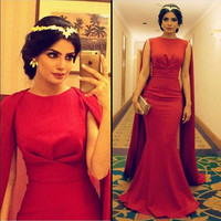 New High Quality Sexy Arabic Red Long Muslim Evening Dresses prom dress  Cape Satin Mermaid Formal Dresses Evening Gowns WJT