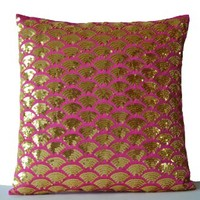 Amore Beaute Handmade Decorative Throw Pillow Covers with Intricate Gold Sequin Embroidered Waves - Sashiko Pillow Covers - Gold Cushion Cover with Zipper - Sofa Pillow Cover - Gold Pillow Cover - Hot Pink Pillow Cover - Hot Pink Pillow Cases - Pink Pillow