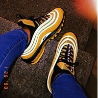 Air Max 97 Nike  Gym New Fashion Sneakers Men Shoes Yellow