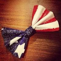 Hair Bow Vintage Inspired 1920s American Flag with Clip Rockabilly Pin up July 4th Bow Teen Woman