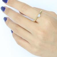 Golden Beaded Band Wing And Crystal Heart Open Ring