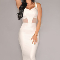 Sleeveless V- Neckline White Faux Leather Midi Dress with Mesh Accent