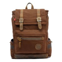 """ZLYC Men Canvas Leather Hiking Travel Backpack Tote Bag Fit 17"""" Laptop"""
