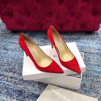 HCXX 1623 MANOLO BLAHNIK MB Fashion Suede High-heeled Shoes Heel 8cm Red