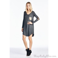 Glitz and Glam Solid Knit Tunic Dress
