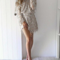 Sexy shining sequins strapless off shoulder dress