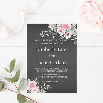 Rustic Shabby Chic Peonies Wedding Invitation, Floral Wedding Invitation, Wedding Invitation, Printable Wedding Invitation, Instant Download