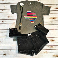 Grey Serape Texas Tee