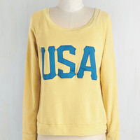 ModCloth Travel Short Length Long Sleeve Mod in America Sweatshirt