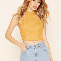 Abstract Embroidered Crop Top