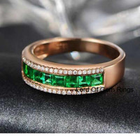 Natural Princess Emerald Diamond Wedding Band Half Eternity Anniversary Ring 18K Rose Gold  VVS/G Channel