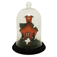 """9"""" Lighted Spooky Haunted House with Ghosts Decorative Halloween Dome Cloche"""