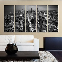 Large Wall Art CHICAGO Canvas Print Chicago Skyline at Night from the John Hancock Building Black