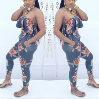 Floral Ruffled Strapless Jumpsuit