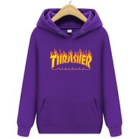 Thrasher Autumn And Winter New Fashion Flame Letter Print Hooded Long Sleeve Sweater Top Purple