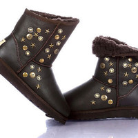 Ugg Jimmy Choo Leather 5829 Boots Chocolate Outlet UK