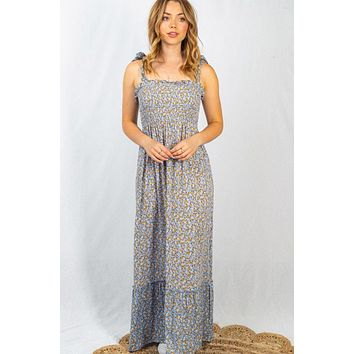What A Doll Steel Blue Ditsy Floral Maxi Dress