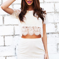 VALENTINA LACE TOP - white crop top