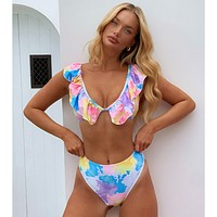 New style bikini lotus leaf shoulder swimsuit outer single ladies swimwear