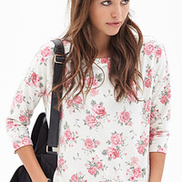 FOREVER 21 Clustered Rose Print Top Cream/Pink