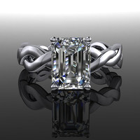 Infinity Style Forever Brilliant Moissanite Emerald Cut Engagement Ring 1.75 CTW