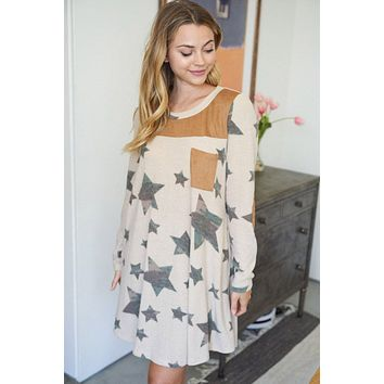 Star Of My Eye Taupe Camo Star Print Dress