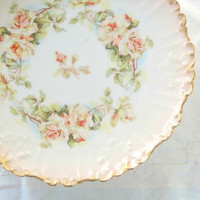 On Sale Limoges Peach Roses Bisque Porcelain Luncheon Plate, Serving, Wedding, Tea Party, Vintage, Ca. Early 1900's