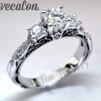 Promotion 94%OFF Vecalon Vintage Engagement wedding Band ring for women Cz diamond ring 925 Sterling Silver Female Finger ring