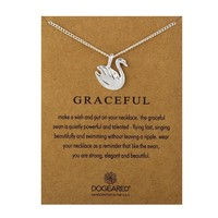 Silver Swan Card Alloy Clavicle Pendant Necklace  171208