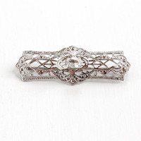 Vintage Art Deco Sterling Silver Filigree Simulated Diamond Brooch - Antique 1930s 1940s Clear Glass Stone Open Metal Jewelry Pin