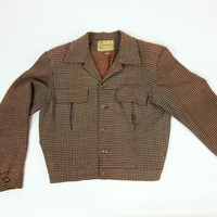 1940s Ricky jacket, brown wool blend gingham cropped coat, Mens Fashions sportswear of California, Medium, size 40